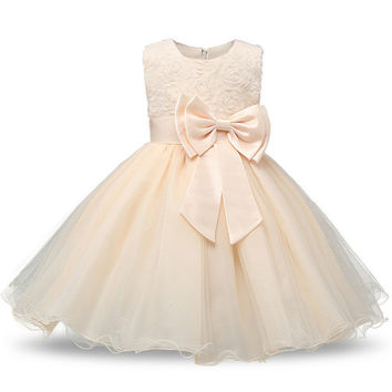 Princess Flower Girl Ivory/Champagne Pageant Dress Sleeveless Floral and Tulle A-Line Frilly Dress 2T to 12Yr