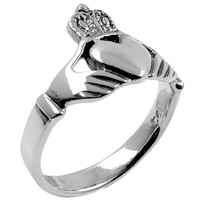 Sleek Claddagh Sterling Silver Ring