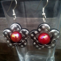 Dangle Flower Earrings in Black Silver and Pink by By5Jewelry