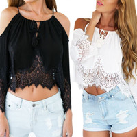 Off Shoulder Lace Chiffon Shirt Crop Top