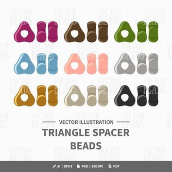 Vector Clipart Set of Triangle Spacer Beads - Instant Download