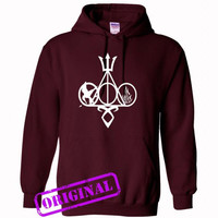Harry Potter, Percy Jackson, Mortal Instruments, Hunger Games, and Divergent for hoodie maroon, hooded maroon unisex adult