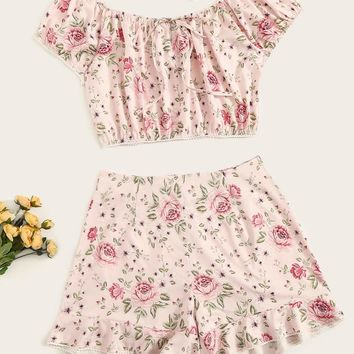 Plus Floral Print Off-shoulder Top With Ruffle Shorts