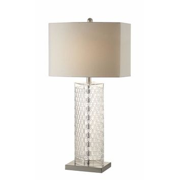 Notably Designed Glass Base Table Lamp, Clear And Silver