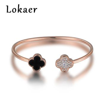 Lokaer Open Bangles Women Jewelry Original Design Classic Double Four-leaf Clover Rhinestone Wedding Bracelets Christmas Gifts