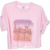 Rokit Recycled Pink Deer Print Cropped T-Shirt - Vintage clothing from Rokit - cropped t-shirt, cropped t, crop top, belly top, tshirt