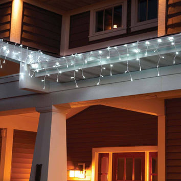 Holiday Time LED Lite Lock Christmas Icicle Lights Cool White, 225 Count