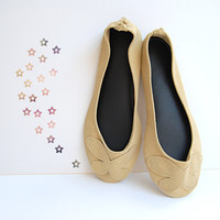 Genuine suede leather custom ballet flat shoes beige gold sparkle