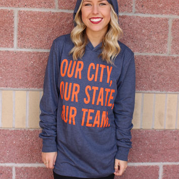Our City hooded long sleeve top