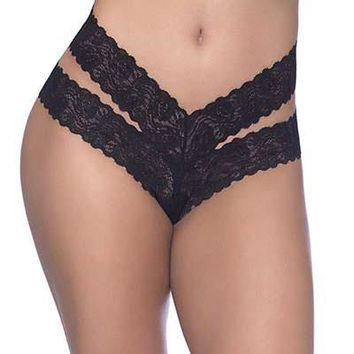 Sexy RT Dual Strap Functional Tie Floral Lace Thong