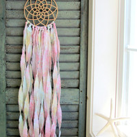 bohemian dream catcher - bohemian baby - vegan -pastel rainbow - wingedwhimsy dreamcatcher - nursery decor - wedding