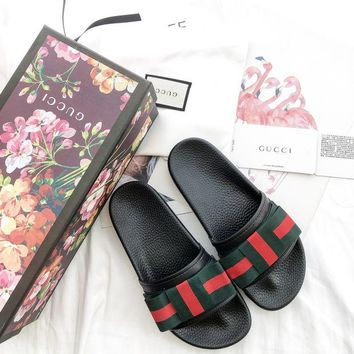 GUCCI Satin Slippers with GUCCI Box