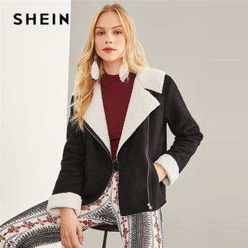 SHEIN Black Highstreet Elegant Zipper Pocket Detail Faux Shearling Fashion Jacket 2018 Autumn Workwear Women Coat And Outerwear