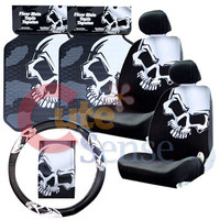 Plastic Color Big White Skull Car Seat Covers Accessories Complete Set :7PC at C