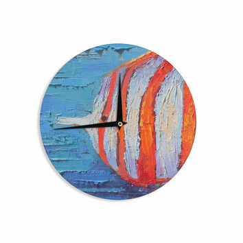 "Carol Schiff ""Coral Reef Fish 1"" Blue Orange Painting Wall Clock"