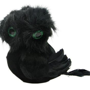MDIGMS9 5.75' Spooktacular Black Faux Fur and Feathered Owl Halloween Decoration
