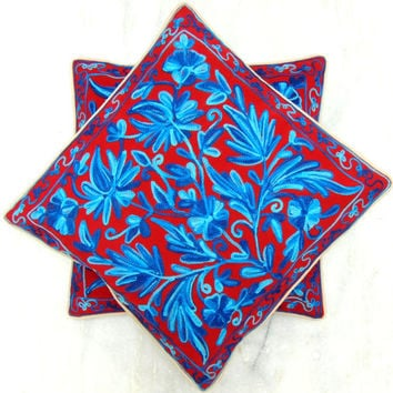 Red Blue Pillow Cover/Embroidered Throw/Euro Sham Cushion/16 x16 inches/18x18/20 x 20/Floral cushion/Round Pillow/Accent Pillow/Oblong/slip