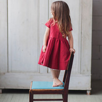 Linen Dress, Red, Kids Fashion, Hand Made, Children Clothing, Peter Pan Collar, Kids Fashion
