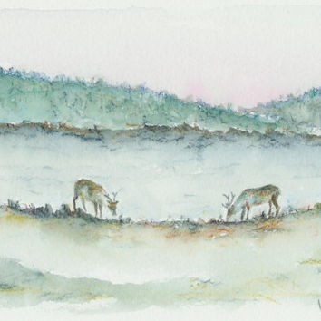 Reindeer in Lapland, original watercolor painting. Unique art from Finland. Finnish Lapland lanscape. Reindeer watercolor art. Unique art.