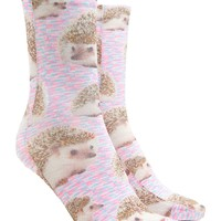Hedgehog Print Crew Socks