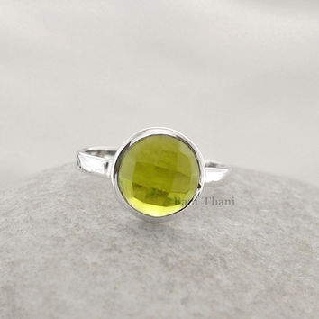 Peridot Quartz Ring Faceted Round 10mm Gemstone Wholesale Ring 925 Sterling Silver Bezel Ring Jewelry - #8260