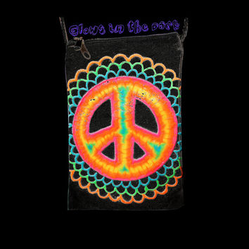 Glow in the Dark Peace Sign Tie-dye Painted Festival Sack