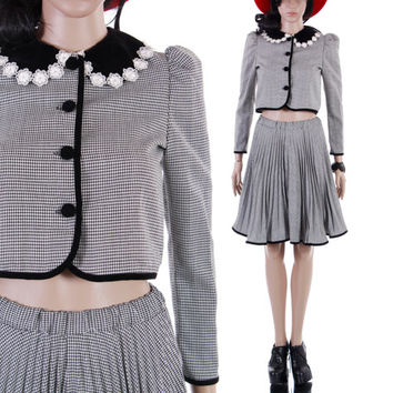 90s Houndstooth Two Piece Outfit Vintage Lolita Goth Preppy Velvet Trimmed Collared Dress Plaid Skirt Twin Set Womens Size XS NWT
