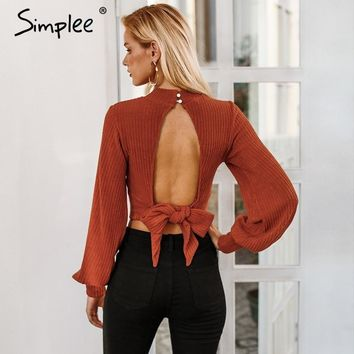 SHIRT Sexy lantern sleeve ladies crop tops Women backless bow tie top blouse