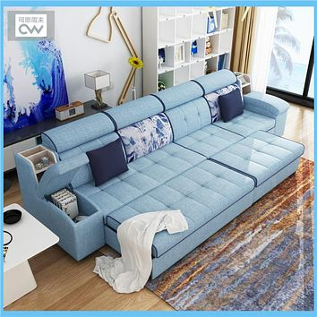 Multifunctional linen fabric sofa bed  velvet cloth sofa living room sofa bed sectional