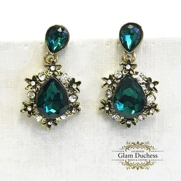 Emerald Green Crystal Victorian Chandelier Bridal Earrings
