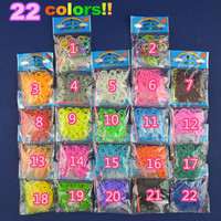 22 colors for choice HOT SALE Factory-Direct-Sale High Quality Solid Color  loom Rubber bands 200 peices with opp package