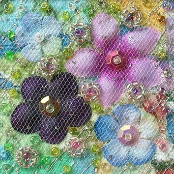 Unique handmade beaded patchwork fabric art quilt card - 5 inch square silk flowers greeting card blank inside - needlework art for framing