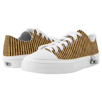 Black and Orange Striped Low Top Zipz Printed Shoes