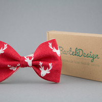 Christmas Bow Tie for Men Red Bow Tie Reindeer Bow Tie Mens Bow Tie Women BowTie Gift for Men Christmas Gift Optional Set for Father and Son