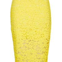 Cord Lace Pencil Skirt - Yellow