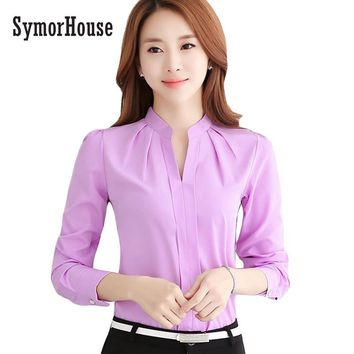 SymorHouse Hot Women Shirts Blouses Long Sleeve V-Neck Elegant Ladies Chiffon Blouse Tops Fashion Office Work Wear Chemise Femme