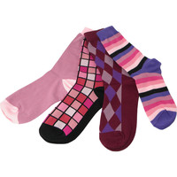 Pack of Four Individual Mismatched Crew Socks in Fuchsia, Burgundy, and Rose