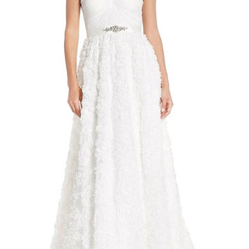 Adrianna Papell Ivory Tulle Rosette Embellished Chiffon Wedding Gown