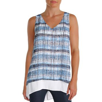 Karen Kane Womens Tide Print Tank Crepe Split Back Tank Top