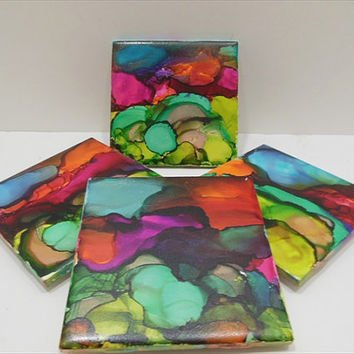 Painted Ceramic Tiles - Abstract Tiles - Art Coaster - Ceramic Art Coasters - Drink Coasters - Set of 4