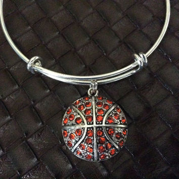 Basketball Charm on a Silver Expandable Bangle Bracelet Sports Team Coach Gift Adjustable