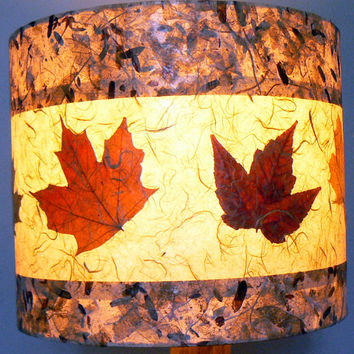 Autumn Leaves Drum Lamp Shade, Pressed Leaves and Artisan Papers