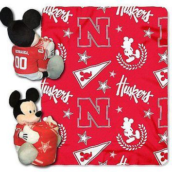 Nebraska Cornhuskers NCAA Mickey Mouse Throw and Hugger Pillow Set