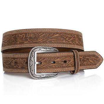 Ariat Men's Tooled Double Stitched Leather Belt & Buckle-Brown