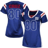 Victor Cruz New York Giants Womens Draft Him Shimmer V-Neck T-Shirt - Royal Blue