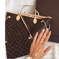 LV Women Shopping Leather Tote Handbag Shoulder Bag and Same style Wallet two piece a set