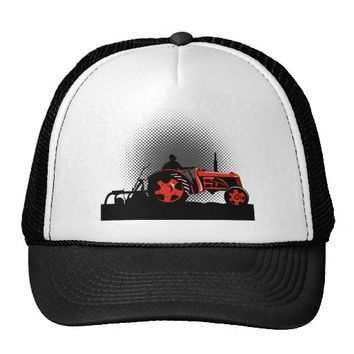 Vintage Farm Tractor farmer driving side Trucker Hat