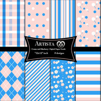 Cream and Blueberry Digital Scrapbook Paper Pack Photoshop Patterns Paper Good Premade Pages