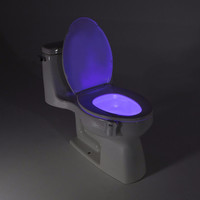 Motion Activated Toilet Night light Bowl Bathroom LED Emergency Light 8 Color Lamp