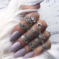 11pcs/Set Women Bohemian Silver Stack Rings Above Knuckle Blue Rings